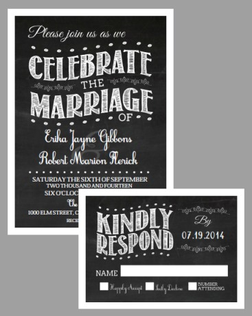 Free Printable chalkboard vintage wedding invitation