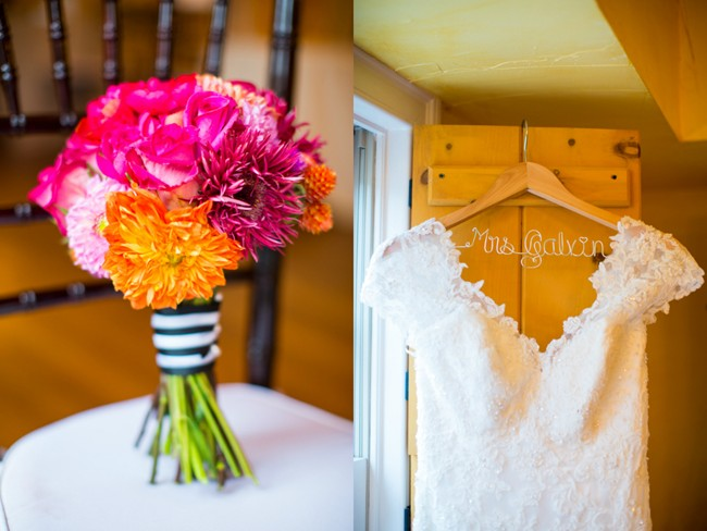 colorful bridal bouquet and wedding dress