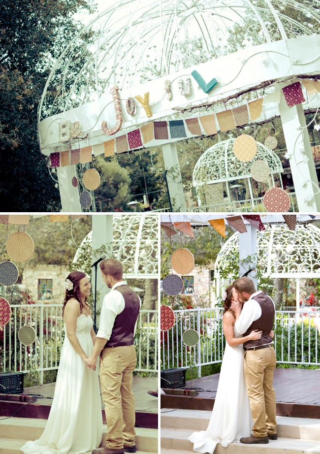 15 non floral altar decoration ideas for your wedding festive multi color bunting wedding altar junglespirit Choice Image