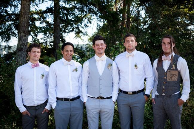 groom and groomsmen wearing pink ties  captured by aubrey joy photography