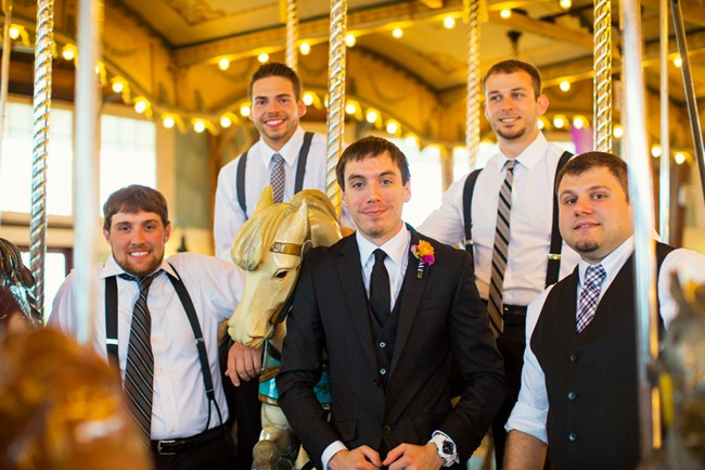 groom with groomsmen on a carousel