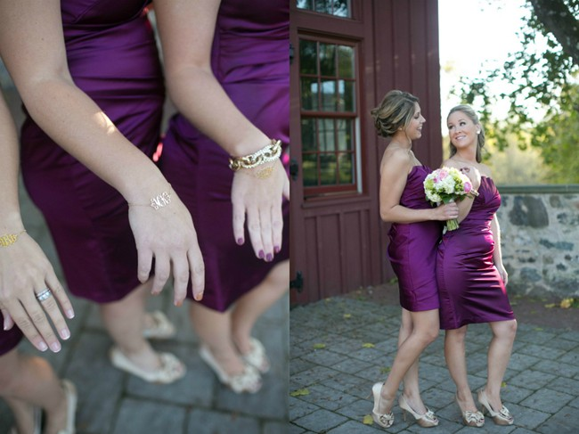 purple bridesmaid dresses and bridemaids bracelet gifts