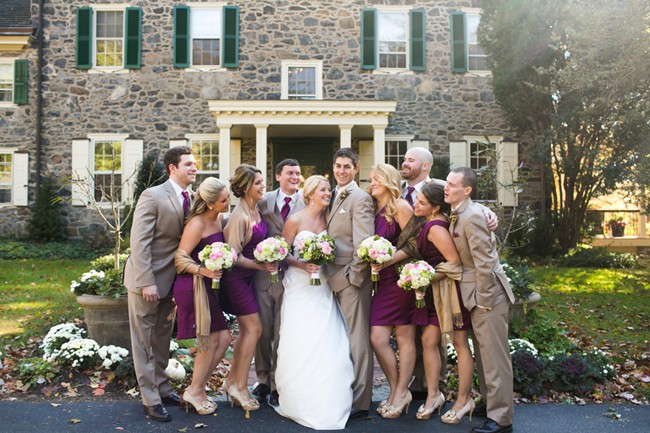 purple bridesmaid dresses and purple tie groomsmen