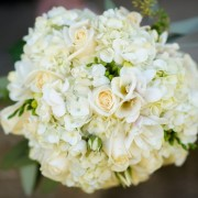 white hydrangea and white rose wedding bouquet