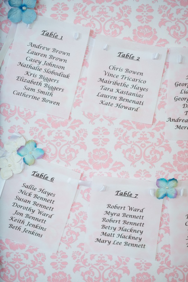 Pink pattern and wedding reception table numbers