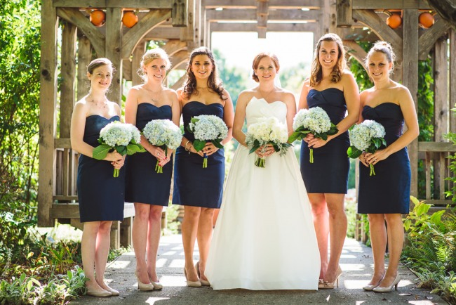 Bride with bridesmaids in navy blue dresses holding blue hydrangeas at North Carolina Arboretum