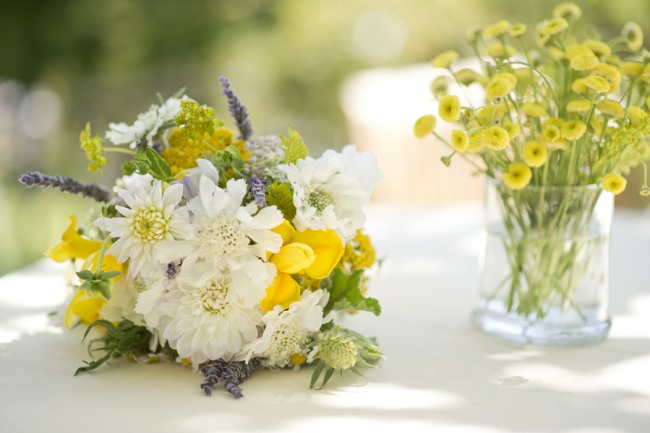 18 wedding flowers of yellow white and purple wild flowers
