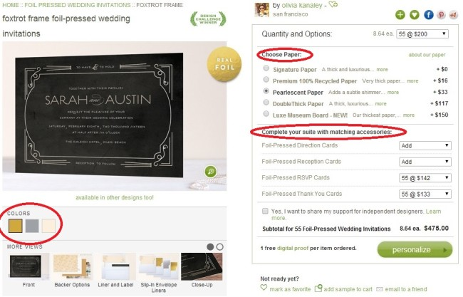 Minted Wedding Stationery choose paper option