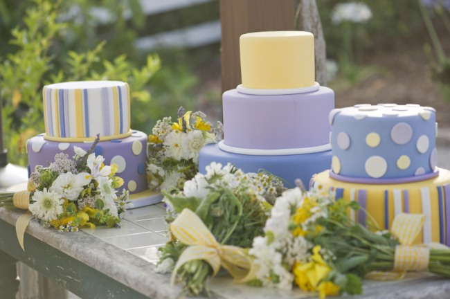 36 purple yellow white stripes and polka dot wedding cake