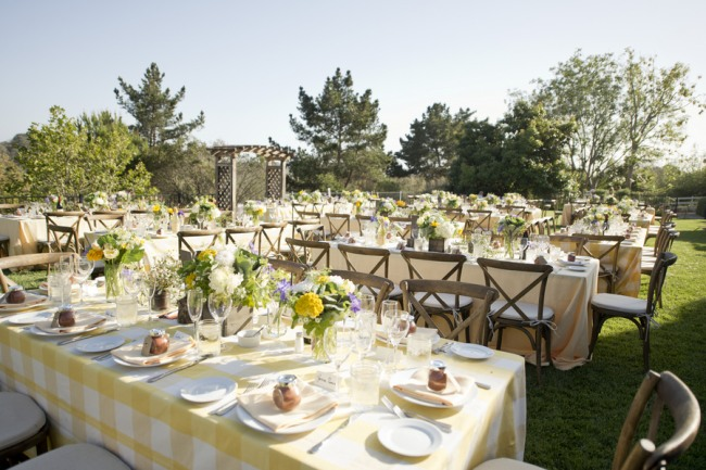 40 backyard wedding reception with yellow and white table cloth
