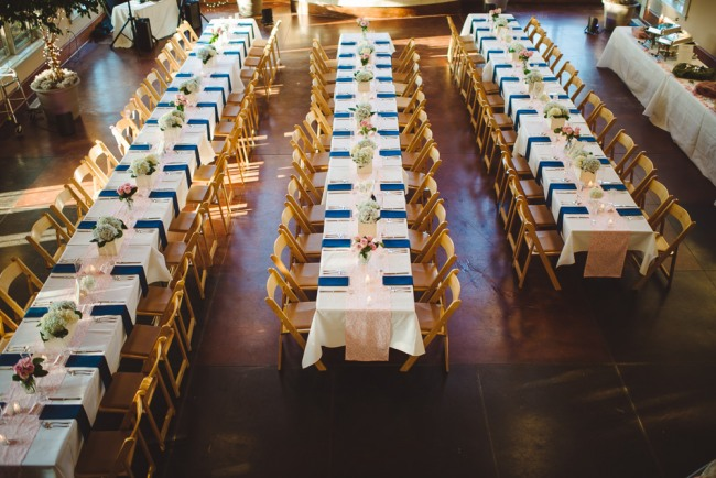 Navy blue and pink wedding reception  at North Carolina Arboretum