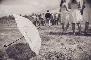 Becken Ridge Vineyard with yellow umbrella