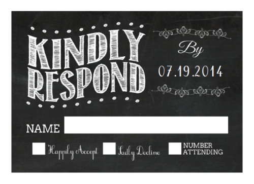 Black and White Chalkboard Wedding RSVP