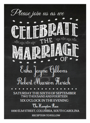 Black and White Chalkboard Wedding invitation