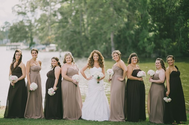 Black and taupe formal mismatched bridesmaids dresses