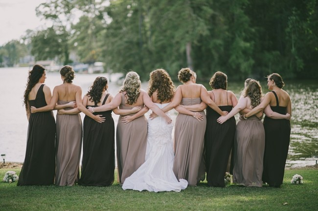 Black and taupe formal mismatched bridesmaids dresses12