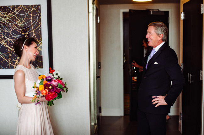 Bride meeting father for first time before wedding at Palm Door