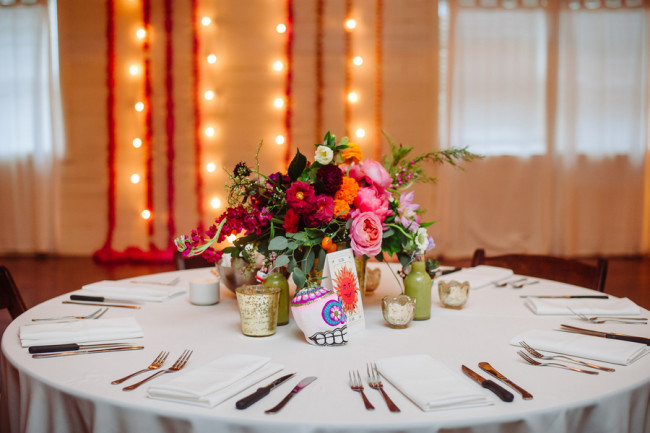 Day of the Day themed Wedding reception at Palm Door with pink yellow green flowers