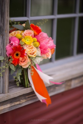 bouquet on wood window