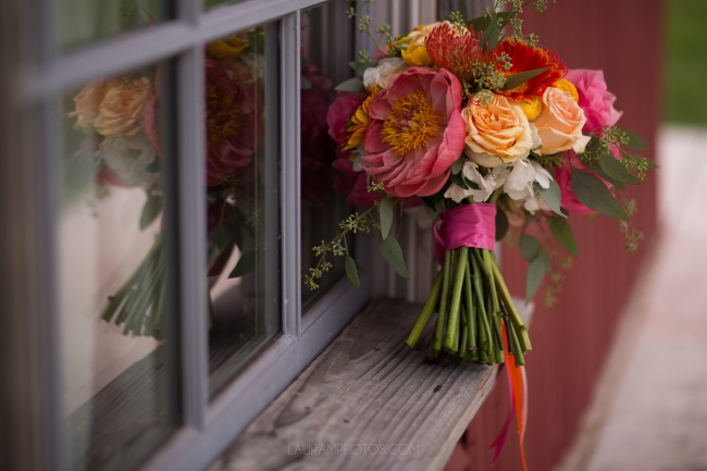 bridal bouquet resting on window ledge