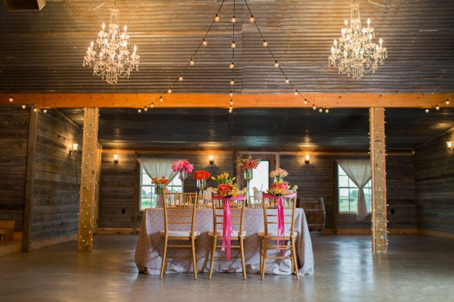chandelier lighting in barn at Rustic Grace Estate