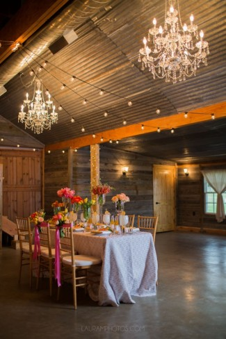 table setting with overhead chandelier lighting