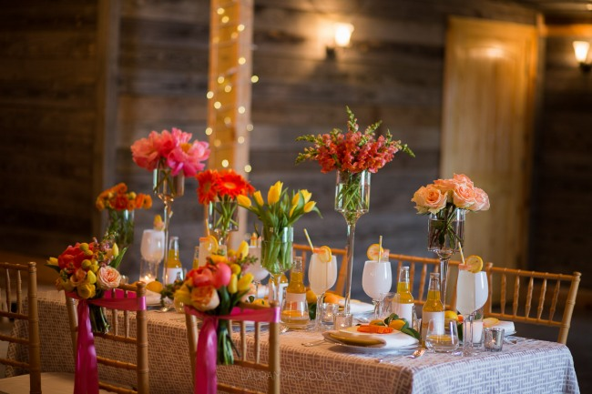 flower arrangements on table setting