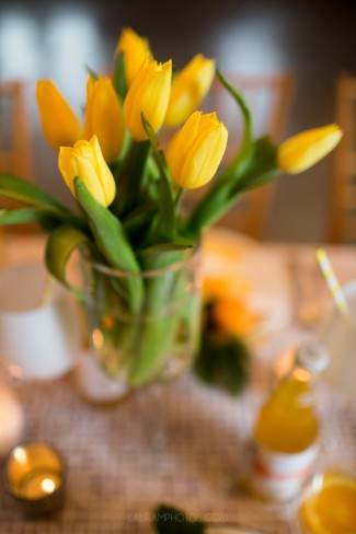 yellow tulip bunch in vase