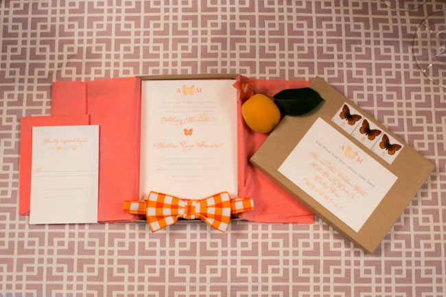 stationery suite with butterflies and bow ties