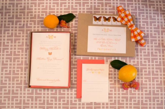 butterfly theme wedding stationery suite