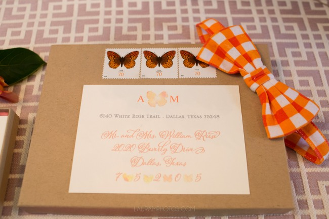 butterfly stamped envelope with orange bowtie