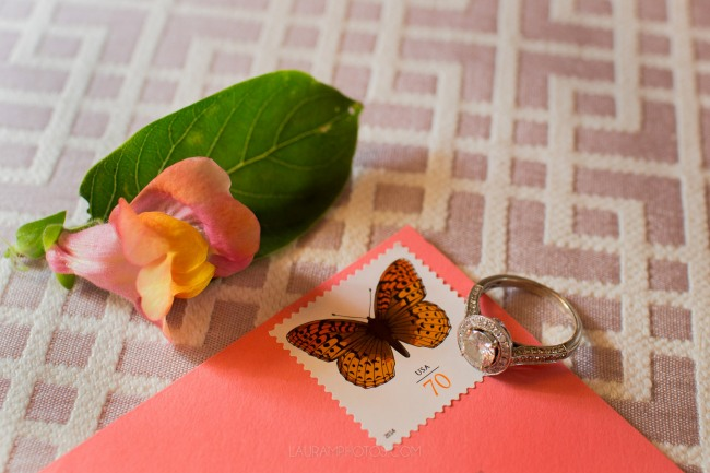 butterfly stamp with engagement ring