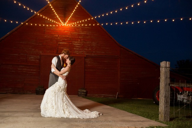 nighttime string lights at Rustic Grace Estate barn
