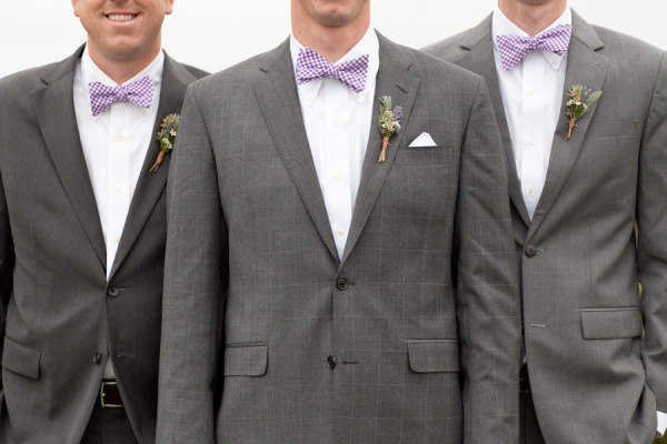 Groom with groomsmen wearing purple Classic Gingham Bow ties