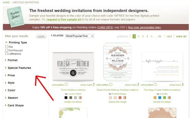 Minted Wedding Stationery Filter Results