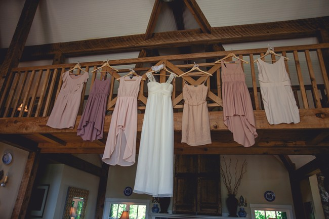 Pink and purple mismatched bridemaids dresses