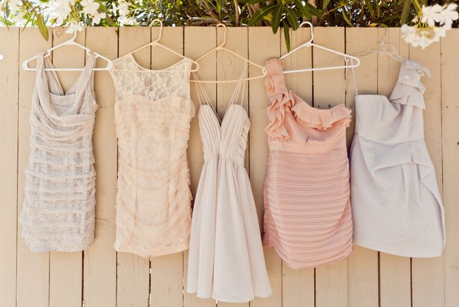 Pink and taupe mismatched brides maids dresses
