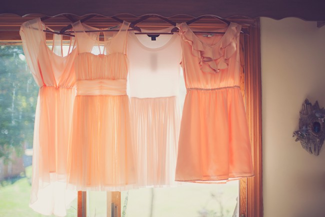 Pink mismatched short bridesmaids dresses