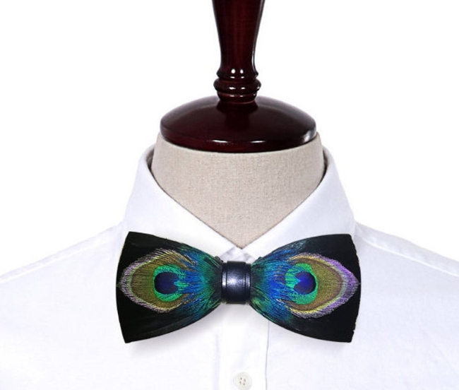 Real Peacock Feathers Handmade Bowtie Unique bow tie