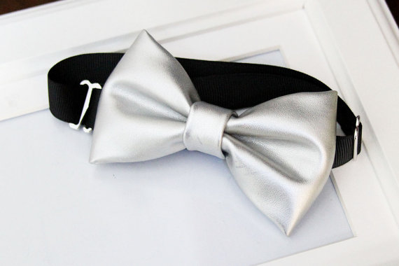 Silver or Grey Solid colored bow tie