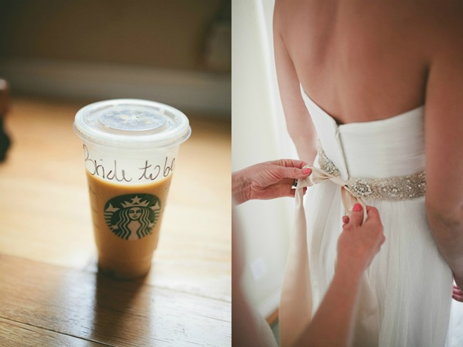 Starbucks coffee with bride to be written on it and bride having her sash belt tied