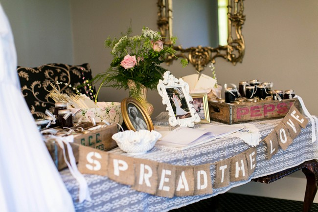 Wedding favor table and spread the love sign