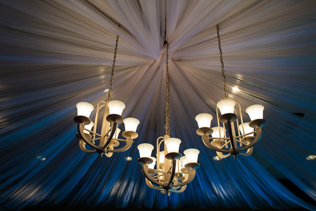 Wedding reception chandalier with sheer drapery