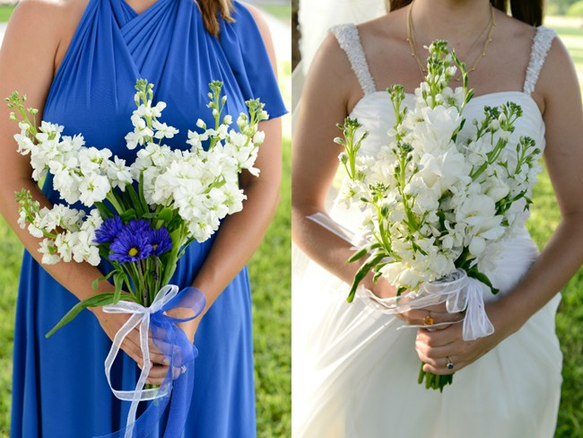 bride and bridemaids' bouquet with white and blue flowers