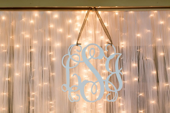 bride and groom initails with light up background