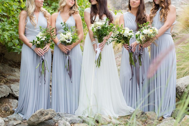bridesmaids dresses same color different dresss in grey purple