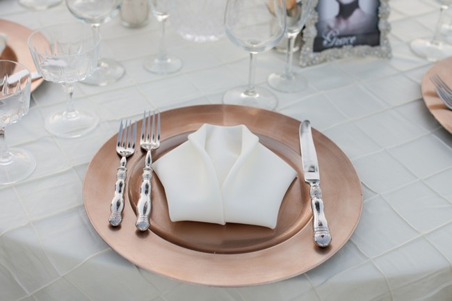 Bronze Charger With White Folded Napkin On Wedding Reception Table At Mount Palomar Winery