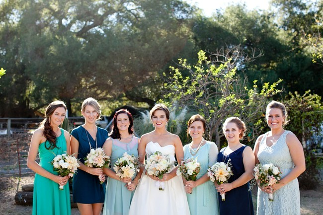 green and teal mismatched bridesmaids dresses