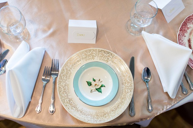 mis matched china for wedidng reception place setting 1