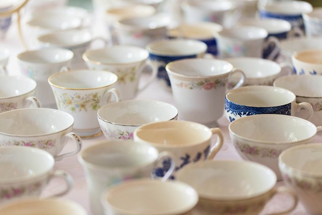 mis matched wedding reception tea cups